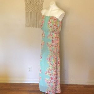 City Triangles Mint and Pink Strapless Dress